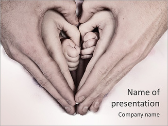Parents Hold Childs Hand PowerPoint Template