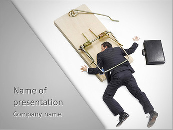 Businessman In Mousetrap PowerPoint Template