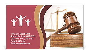 Courtroom detail with a gavel and scales of justice in the background Business Card Template