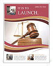 Courtroom detail with a gavel and scales of justice in the background Flyer Template