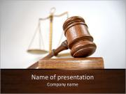 Courtroom detail with a gavel and scales of justice in the background PowerPoint Template