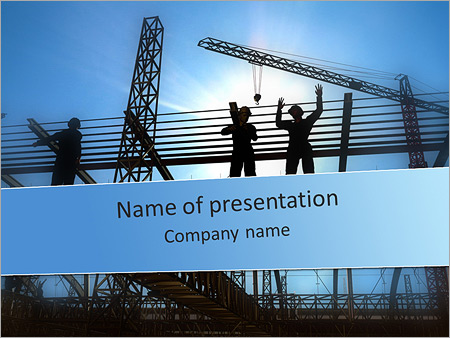 building in process powerpoint template & backgrounds id, Modern powerpoint
