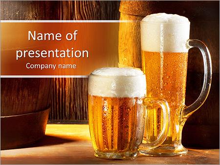Food drink powerpoint templates backgrounds google slides two glasses of beer powerpoint template toneelgroepblik Choice Image