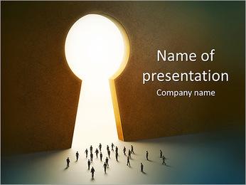 People Entering Huge Key Hole Plantillas de Presentaciones PowerPoint