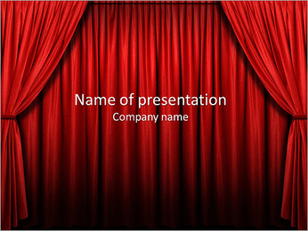 Stage With Red Curtains PowerPoint Template