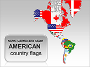 American Country Flags PPT Diagrams & Chart