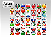 Asian Country Flags PPT Diagrams & Chart