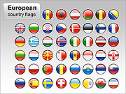 European Country Flags PPT Diagrams & Charts