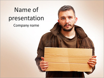 5188 Man With Cardboard PowerPoint Template