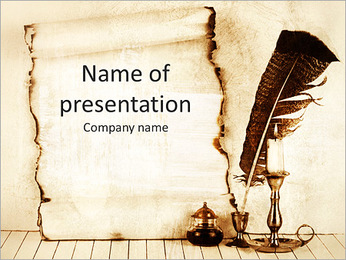 Feather And Papyrus PowerPoint Template