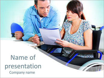 Woman On Invalid Chair PowerPoint Template