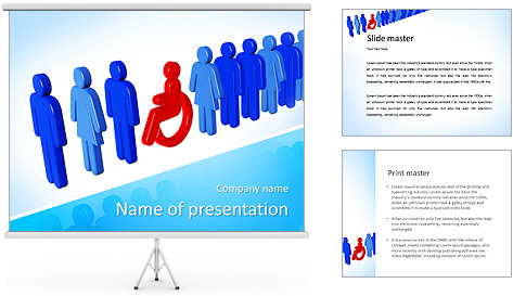Sign Disable Man PowerPoint Template