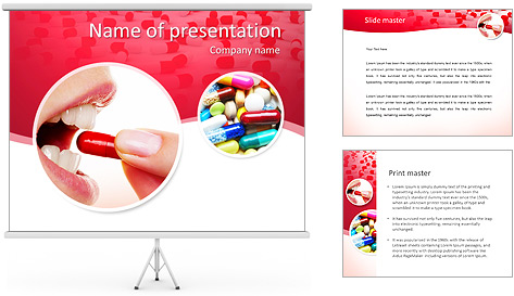 Woman Takes Pill PowerPoint Template
