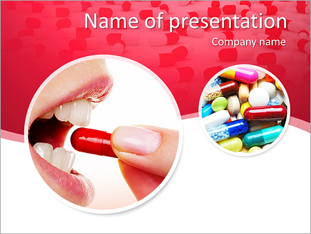 Woman Takes Pill PowerPoint Templates
