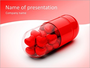 Red Hearts In Pill PowerPoint Template