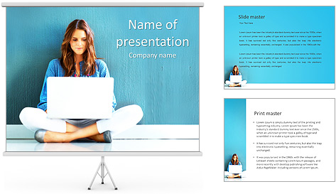 Lady With Laptop PowerPoint Template