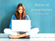 Lady With Laptop PowerPoint Templates