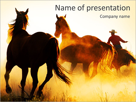 Cowboy With Horses Powerpoint Template Backgrounds Google Slides