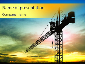 建物クレーン PowerPointプレゼンテーションのテンプレート
