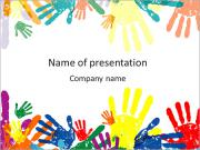 Colorful Childs Palms PowerPoint Templates