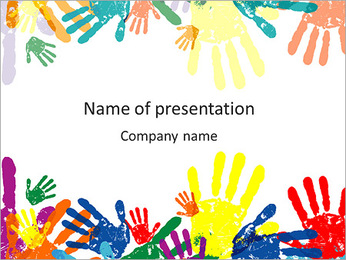 Colorful Childs Palms PowerPoint Template