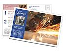 Metal sawing close up Postcard Templates