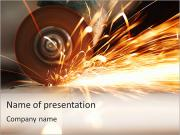 Metal sawing close up PowerPoint Templates