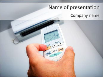 Closeup view about using some appliance such as air condition PowerPoint Template