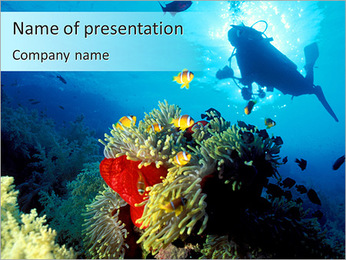 Diver Under Water PowerPoint Template