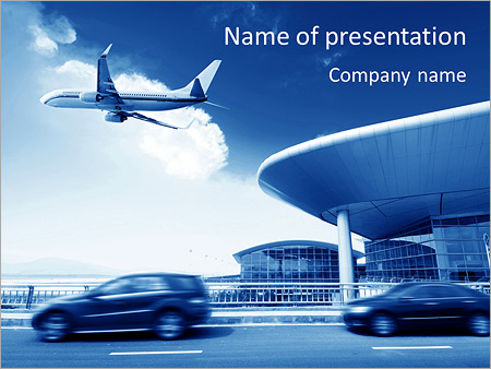 airport powerpoint template & backgrounds id 0000005633, Modern powerpoint