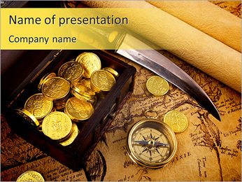 Chest With Gold PowerPoint Template