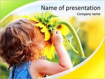 Fille odeurs de tournesol Modèles des présentations  PowerPoint