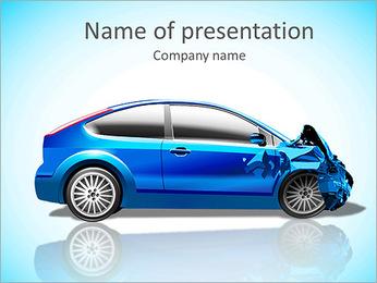 Blue Car Modèles des présentations  PowerPoint