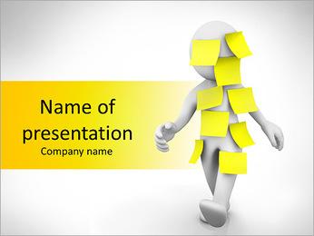 Yellow Paper Stickers On Man Modelos de apresentações PowerPoint