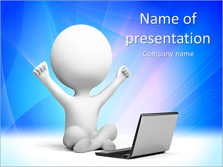 Happy Man with Laptop PowerPoint Template