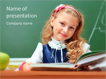 Girl At School PowerPoint Template