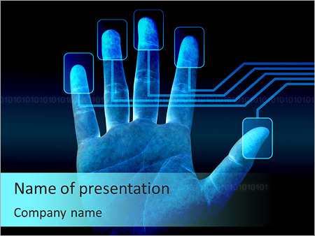 human fingerprint powerpoint template & backgrounds id 0000006055, Modern powerpoint