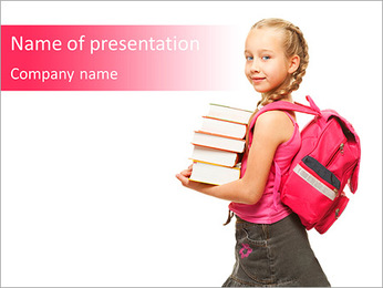 Girl Carries Books PowerPoint Template