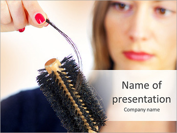 Woman Cleans Hairbrush PowerPoint Template