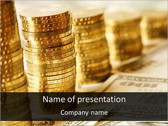 Golden Coins Diagram PowerPoint Template