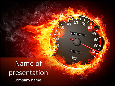 speedometer in fire powerpoint template & backgrounds id, Powerpoint templates