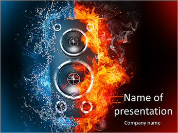 Stereo System In Fire PowerPoint Template