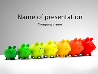 Line Of Piggy Banks PowerPoint Template
