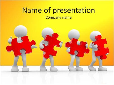 puzzle teamwork powerpoint template & backgrounds id 0000006460, Powerpoint templates