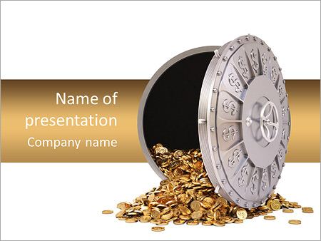 bank lock powerpoint template & backgrounds id 0000006522, Powerpoint templates