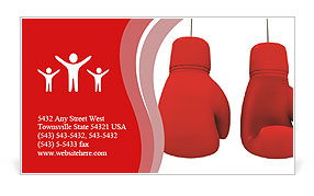 Two red gloves hanging Business Card Template
