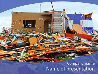 Destroyed House PowerPoint Template