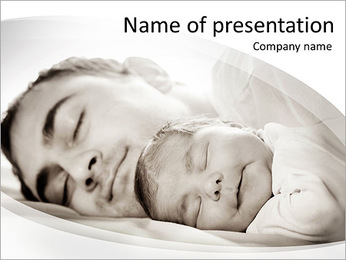 Father Sleeps With Baby PowerPoint Template