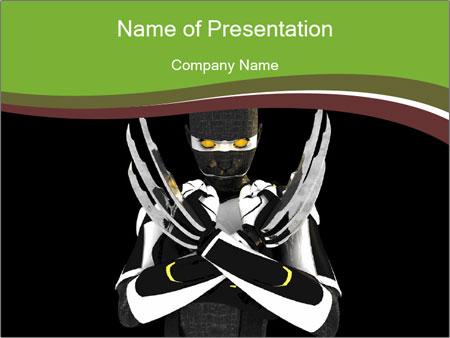 3D Steel Robot PowerPoint Templates