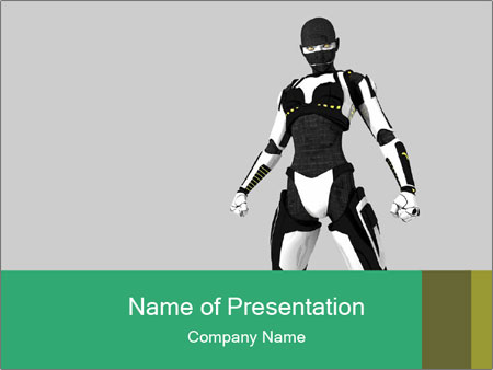3D Female Robot Model PowerPoint Template